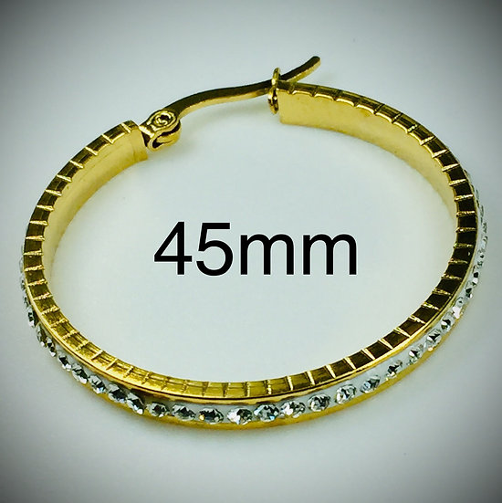 45mm Stainless Steel gold color plated Clay Pave Rhinestone Hoop Earrings.