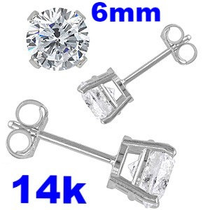 6mm Round Simulated Diamonds Set on High Quality 14k White Gold Prong Setting