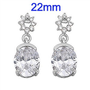 Sterling Silver Earrings with large CZ