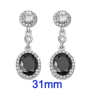 Silver Earrings with Black and Clear CZ
