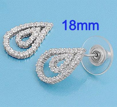 Sterling Silver 18mm Teardrop CZ Stud Earrings