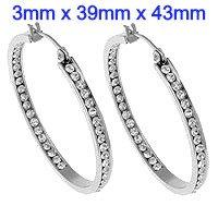 Stainless Steel Hoop Earrings with rhinestone