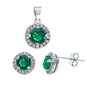 Sterling Silver Halo Emerald Green and Clear Cz Earrings and Pendant Set