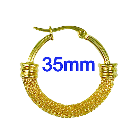 Stainless Steel 35mm Fancy Golden Mesh Hoop Earrings