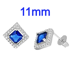 Sterling Silver Sapphire Blue Diamond Cut Shaped CZ Earrings
