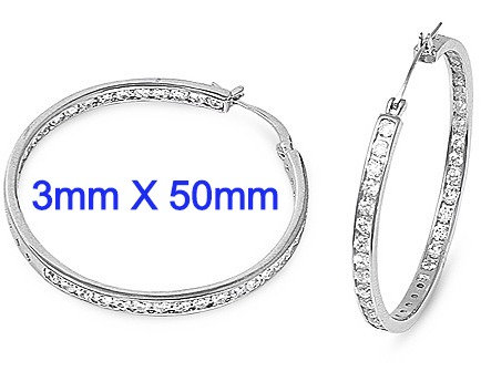 3mm X 50mm Sterling Silver Channel Set Inside/Outside CZ Hoop Earrings