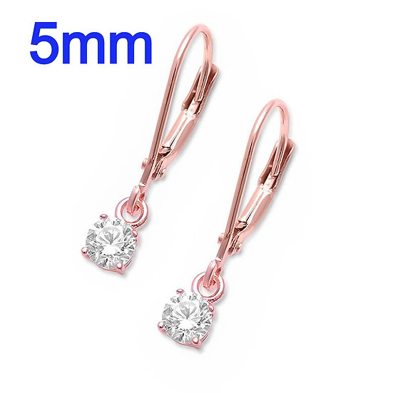 1 Carat t.w. Sterling SilverRose Gold Plated Drop Dangle 5mm Round Diamond SimulantLever back Earrings