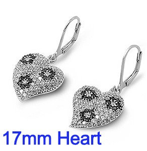 Sterling Silver Earrings With 17mm CZ Heart