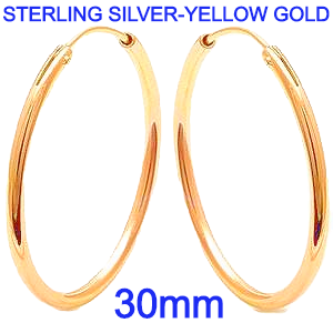 Sterling Silver Plain Yellow Gold Plated 2mm x 30mm Round Silver Hoop Earrings