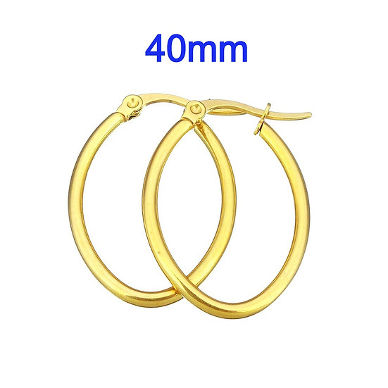 Stainless Steel 40mm Golden Oval Hoop Earrings