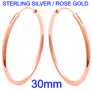 Sterling Silver Plain Rose Gold Plated 2mm x 30mm Round Silver Hoop Earrings