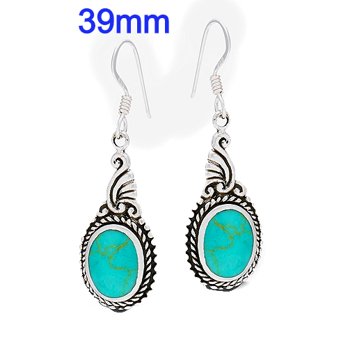 Sterling Silver Earrings with Synthetic Turquoise