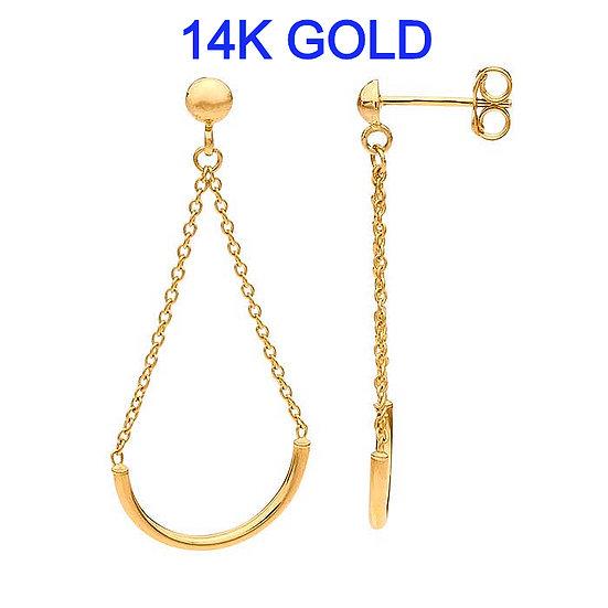 14K Yellow Gold Half-Ball Post Earrings with Half-Circle Chain Dangle's