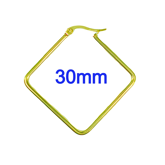 Stainless Steel 30mm Golden Rhombus Hoop Earrings
