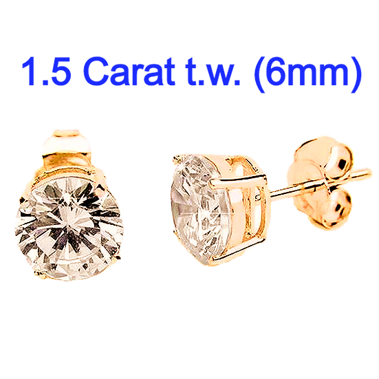 1Carat 5mm Simulated CZ Diamond StudEarrings.