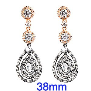 Multi Color Sterling Silver CZ Halo Dangle Earrings