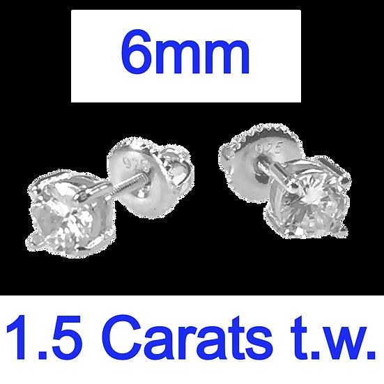 Sterling Silver 1.5 Carat Round Diamond Simulant Screw Back Stud Earrings