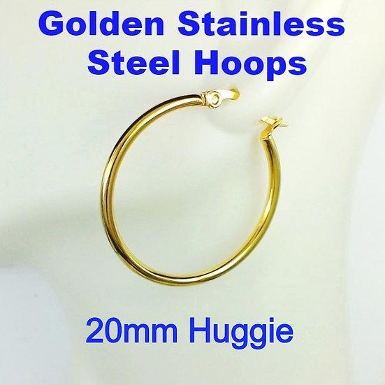 Stainless Steel 2mm x 20mm Golden Huggie Hoop Earrings