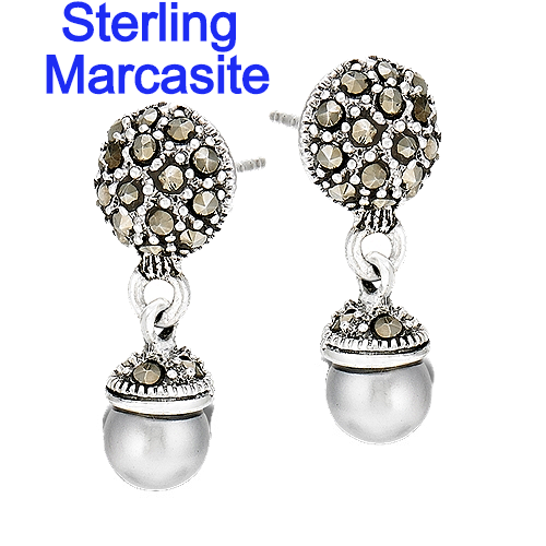 Sterling Silver Marcasite Dome With Gray Pearl Earrings
