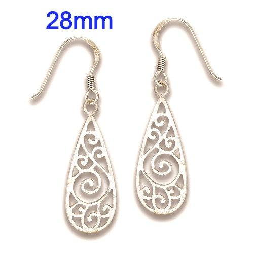 Sterling Silver Modern Swirl Dangle Earrings