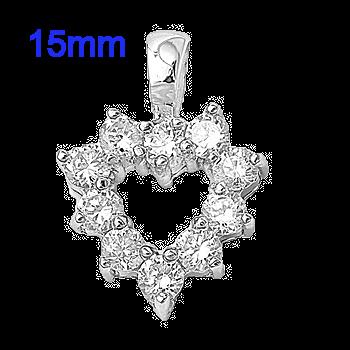 Sterling Silver 15mm CZ Heart Pendant