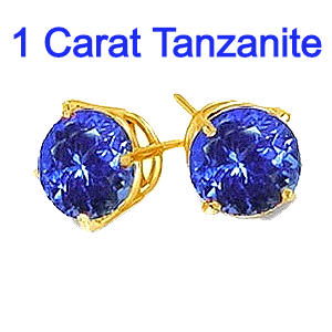 1 Carat Tanzanite Earrings in 14K Gold