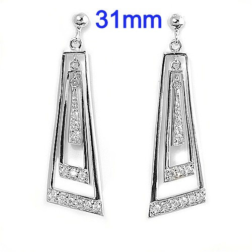 Sterling Silver Fancy Micro Pave Dangle Earrings