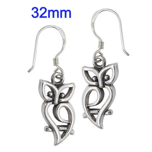 Sterling Silver Owl On Branch Earrings