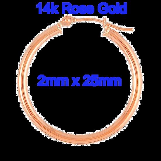 14K Rose Gold 2mm x 25mm GoldHoop Earrings