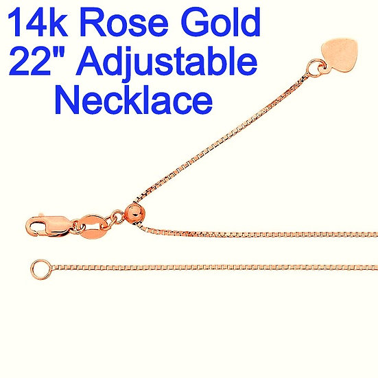 "14K Rose Gold 0.7mm X 22"" Adjustable Box Chain"