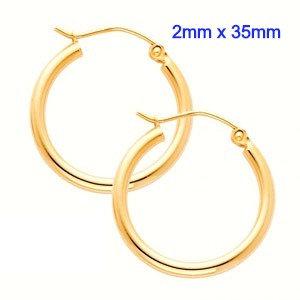 14K Yellow Gold 2mm x 35mm in Diameter Classic Snap Post Hoop Earrings