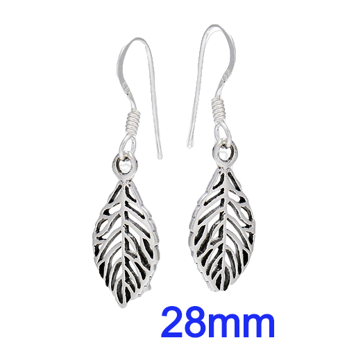 Sterling Silver 28mm Dangle Leaf Earrings