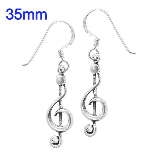 Sterling Silver Clef Note Earrings