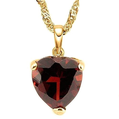 1/2 CARAT GARNET SET IN 10K SOLID YELLOW GOLD PENDANT