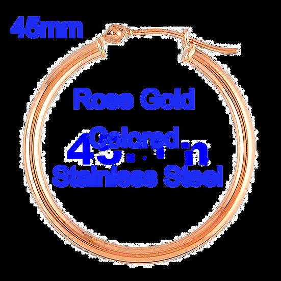 Stainless Steel 2x45mm Rose Gold coloredHoop Earrings
