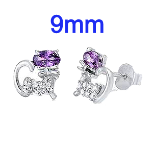Sterling Silver Cat Shaped Amethyst Blue And Clear CZ Earrings