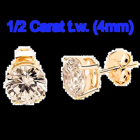 1/2 Carat 4mm Simulated CZ Diamond StudEarrings.