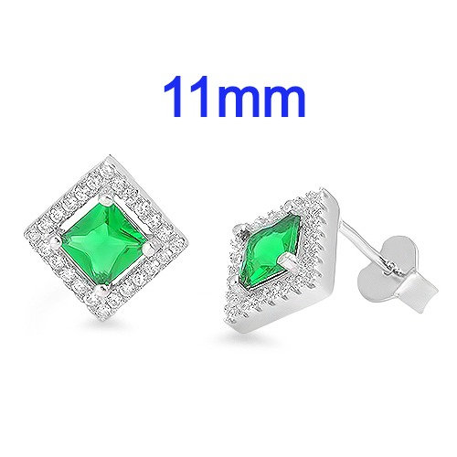 Sterling Silver Halo Earrings with Emerald Green and Clear CZ