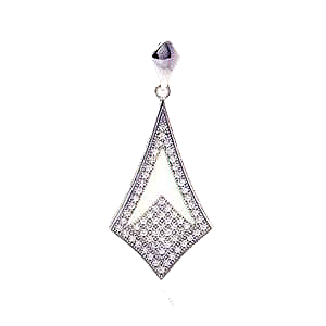 Sterling Silver Rhodium Plated Micro Pave Sharp CZ Dangle Pendant