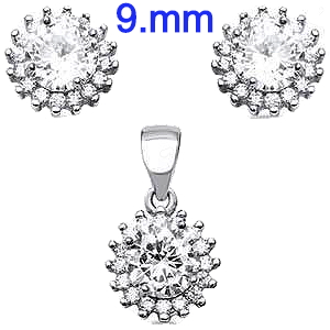 Sterling Silver 9.3mm Halo CZEarring And Pendant Set