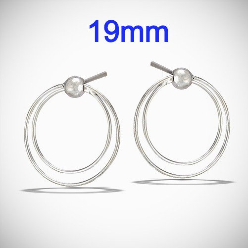 Sterling Silver Moveable Double Dangling Hoop Post Earrings