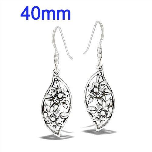Sterling Silver Flower Dangle Earrings