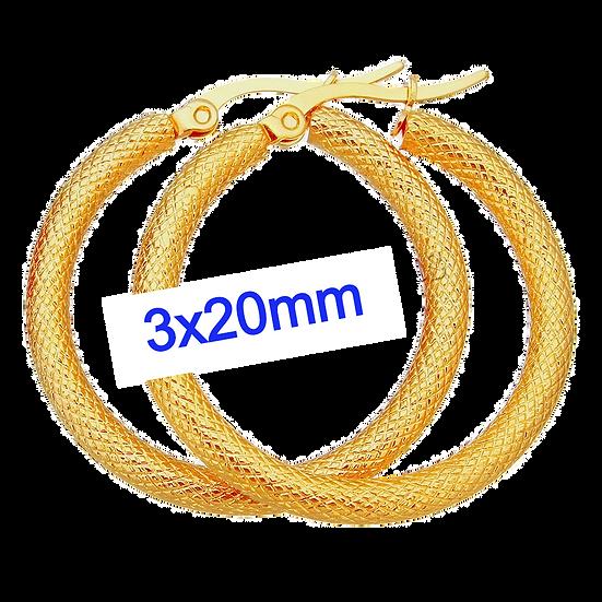 Stainless Steel 3x20mm Diamond Style Golden Hoop Earrings