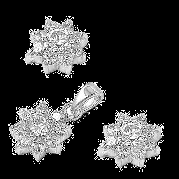 Silver Sets WithCZ - Plumeria