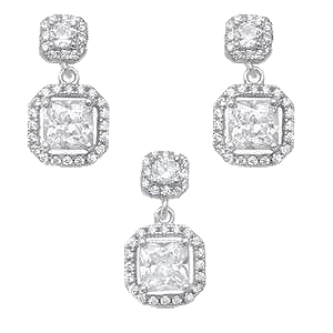 Sterling Silver Square Cubic Zirconia Halo Earrings And Pendant Set