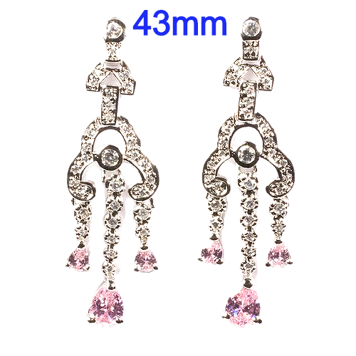 Sterling Silver 43mm Fancy Dangle Earrings with Clear and Pink CZ