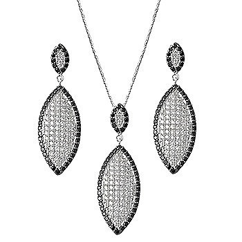 Sterling Silver and CZ Earrings, Pendant and Chain