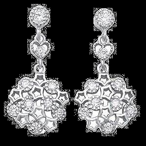 Sterling Silver Cubic Zirconia Antique Filigree Drop Earrings