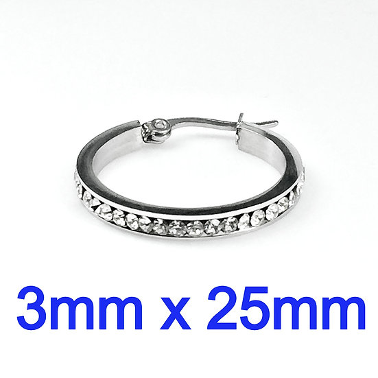 Stainless Steel 3mm x 25mm Hoop Earrings with rhinestone's
