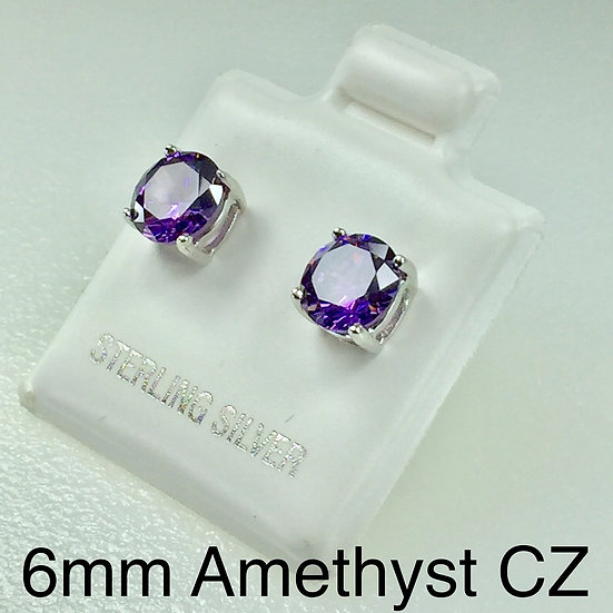 1.5  Carat t.w. 6mm Amethyst  CZ Stud Earrings